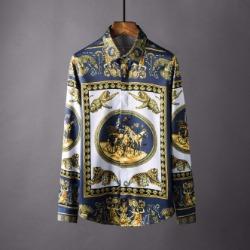 106871 VA 골든라인 로이어 패턴 히든버튼 셔츠 (Navy)