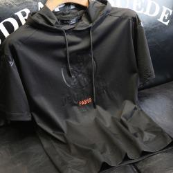 107357 PH 데스나이프 스컬라인 후드 하프 티셔츠 (Black)