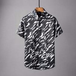 107127 지브라 패턴포인트 히든버튼 하프 셔츠 (2Color)