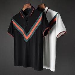 107427 GU 시그니처 시메트릭 컬러 카라 하프 티셔츠 (2Color)