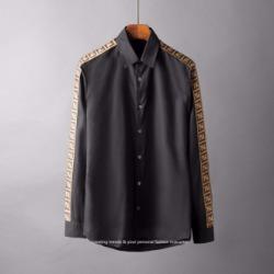 107130 FE 시그니처 로고 사이드패턴 히든버튼 셔츠 (2Color)