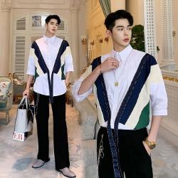 107258 지오메트릭 시메트릭 포인트 7부 셔츠 (White)