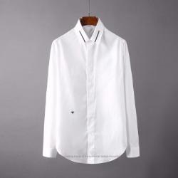 107115 GU 꿀벌자수 심플라인 히든버튼 셔츠 (White)