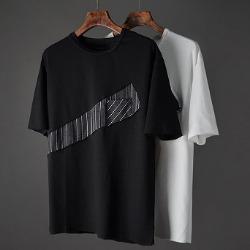 107401 다이아그널 스트라이프 포인트 하프 티셔츠 (2Color)