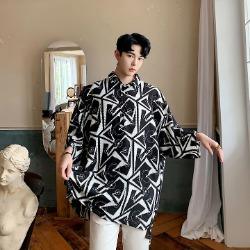 107261 유니크라인 지오메트릭 패턴포인트 셔츠 (Black)