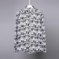 107174 유니크틱 카툰라인 피플패턴 셔츠 (2Color)