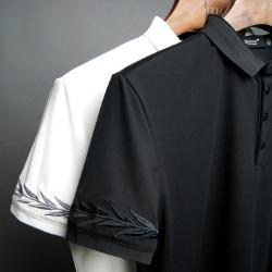 107400 데일리 베이라인 엠브로이드 카라 하프 티셔츠 (2Color)