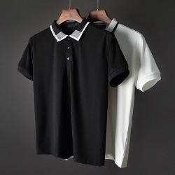 107425 베리어스 믹스컬러 포인트 카라 하프 티셔츠 (2Color)