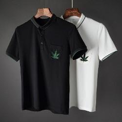 107424 마리라인 리프 엠브로이드 카라 하프 티셔츠 (2Color)