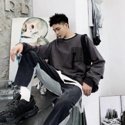 107257 유니크 레이어드 포켓포인트 티셔츠 (Dark Gray)