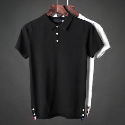 107436 컬러라인 버튼포인트 카라 하프 티셔츠 (2Color)