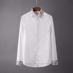 107124 시메트릭라인 플라워패턴 포인트 히든버튼 셔츠 (2Color)
