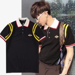 107708 꿀벌포인트 트랙암라인 카라 하프 티셔츠 (Black)