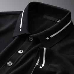 107768 시메트릭라인 라인포인트 카라 하프 티셔츠 (Black)