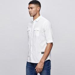 107753 미니멀리즘 솔리드라인 핀스트라이프 하프 셔츠 (White)