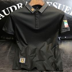107477 멀티엠블럼 엠브로이드 카라 하프 티셔츠 (Black)