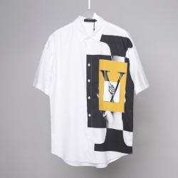 107533 LO 시그니처 오버랩 프린팅 오버 하프 셔츠 (White)