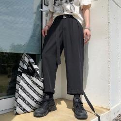 107729 유니크라인 벨티드 포인트 8부 와이드 슬랙스 (Black)