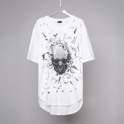 107534 펠릭스 디스트로이드 스컬프린팅 하프 티셔츠 (White / XL(100))