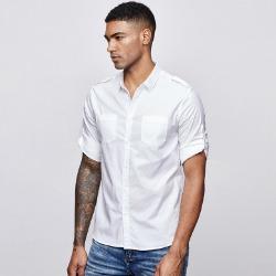 107750 미니멀리즘 솔리드라인 롤업포인트 하프 셔츠 (White)