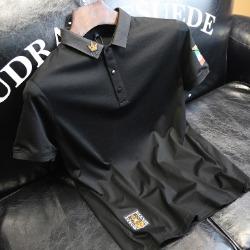 107617 라토라인 베리어스 엠브로이드 카라 하프 티셔츠 (Black)