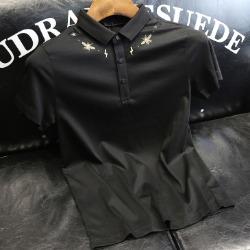 107489 GU 시그니처 시메트릭 카라 하프 티셔츠 (Black)