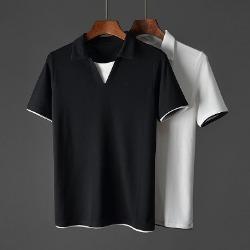 107549 데일리 레이어드 포인트 카라 하프 티셔츠 (2Color)