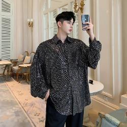 107734 고저스라인 샤이닝 포인트 헤비오버핏 셔츠 (Black)