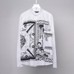 107847 유니크 프레임라인 엔티크 프린팅 다운버튼 셔츠 (White)