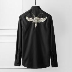 107779 로얄크라운 비조 엠브로이드 포인트 히든버튼 셔츠 (2Color)