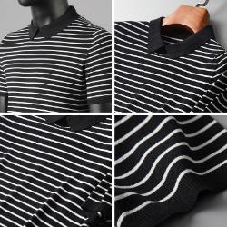 107812 데일리라인 스트라이프 카라 하프 티셔츠 (Black)