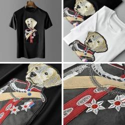 107809 유니크라인 도그제너럴 엠브로이드 하프 티셔츠 (2Color)