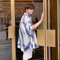 107833 스플렌디드 아트라인 프린팅 헤비오버 하프 셔츠 (Blue)