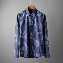 107773 고저스라인 크라운 패턴프린팅 히든버튼 셔츠 (2Color)