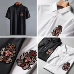 107811 펠릭스 로얄크라운 엠브로이드 카라 하프 티셔츠 (2Color)