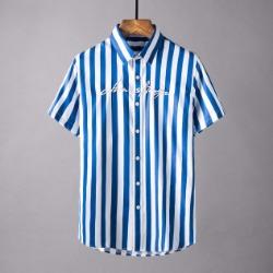 107830 유니크 레터링 포인트 스트라이프 하프 셔츠 (2Color)