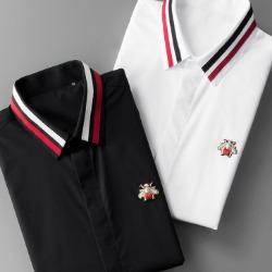 107827 프레데릭 꿀벌라인 엠브로이드 히든버튼 셔츠 (Black)