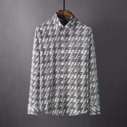 107792 FE 시그니처 로고썬더 레인포인트 히든버튼 셔츠 (Gray)