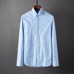 107785 유니크라인 시메트릭 스트라이프 히든버튼 셔츠 (Blue)
