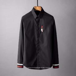 107793 유니크 로즈핸드 엠브로이드 히든버튼 셔츠 (Black / 46(110))