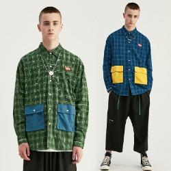 107894 유니크 웨이브 포켓포인트 오버핏 체크 셔츠 (2Color)