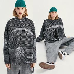 107895 더문 스트라이프 레이더포인트 헤비오버핏 셔츠 (Gray)