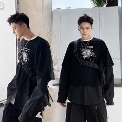 107960 고저스 유니크라인 하프레이어드 헤비오버핏 셔츠 (Black)