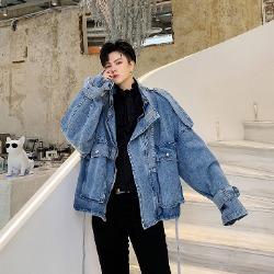 107995 유니크라인 견장포인트 헤비오버핏 데님 점퍼 (Blue)
