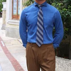 108099 스플렌디드 솔리드라인 윈저카라 데님 셔츠 (2Color)