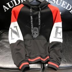108124 유니크 레트로 스컬라인 후드 티셔츠 (Black)