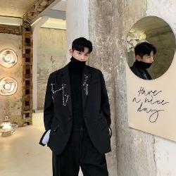 107998 유니크라인 클립체인 포인트 오버핏 자켓 (Black)