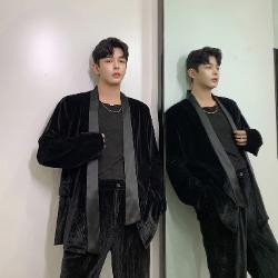 108004 테오도어라인 벨벳포인트 오버핏 가디건 (Black)