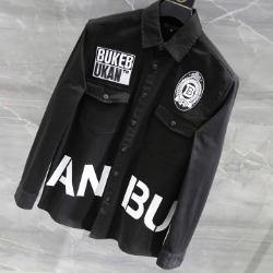 108177 고저스라인 더블포켓 빅레터링 포인트 셔츠 (Black)