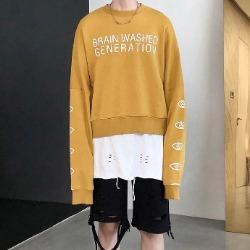 108070 하이라인 웨이스트 헤비오버 맨투맨 티셔츠 (Mustard)